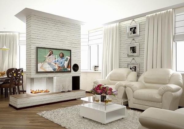 Белая кирпичная стена в интерьере гостинной