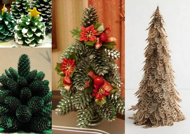 Поделки елки из природного материала: шишек и перьев