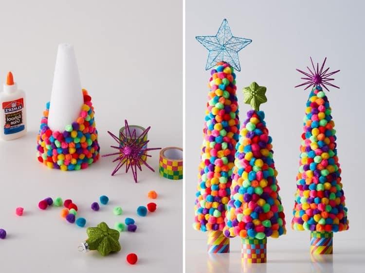 Яркие елочки из разноцветных шариков