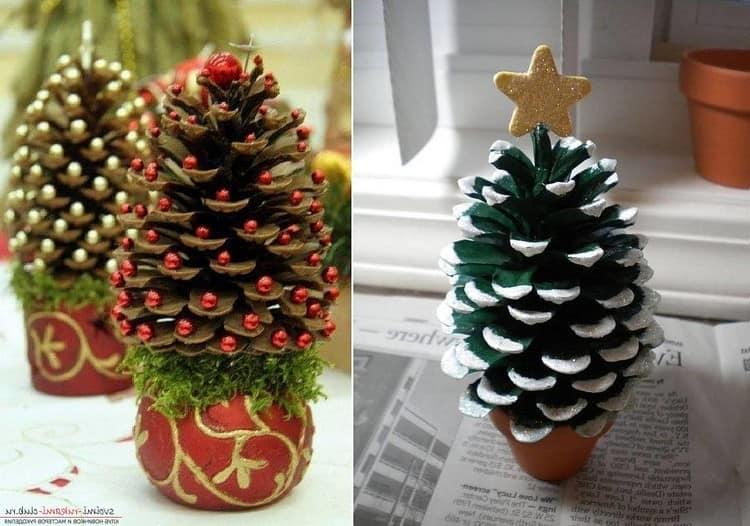 Две елки из сосновых шишек