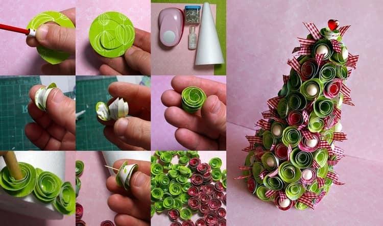 Мастер класс: объемная елка из бумаги в технике квиллинг