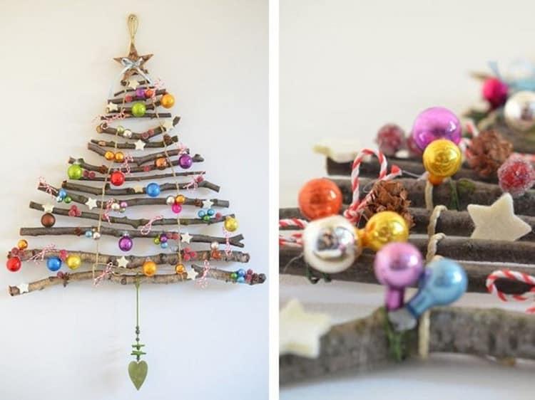 Плоская новогодняя елка из веточек для украшения стен