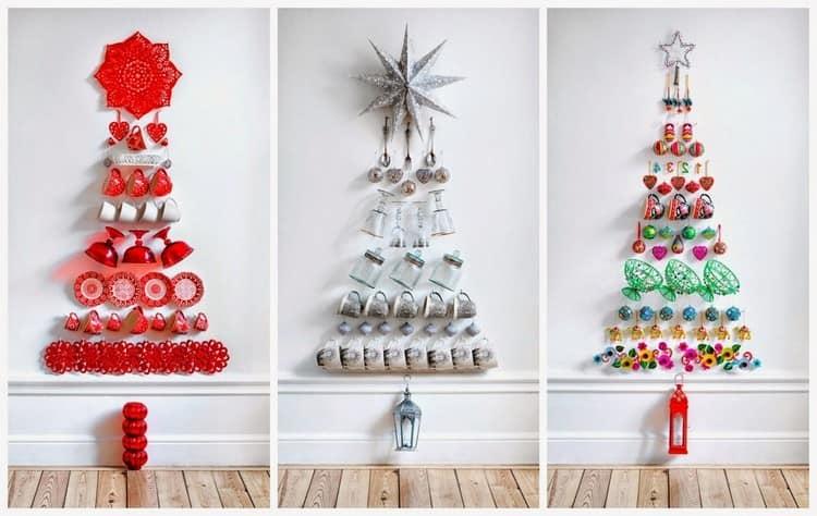 Плоские елки из посуды - необычная идея