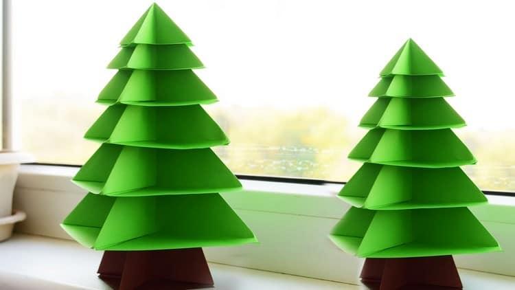 Детская поделка: зеленая елка из картона или бумаги