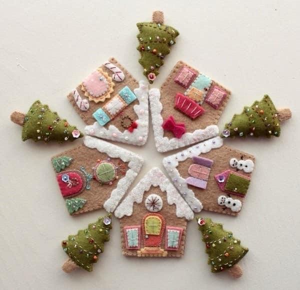 Пряничные домики и елочки для новогоднего украшения квартиры