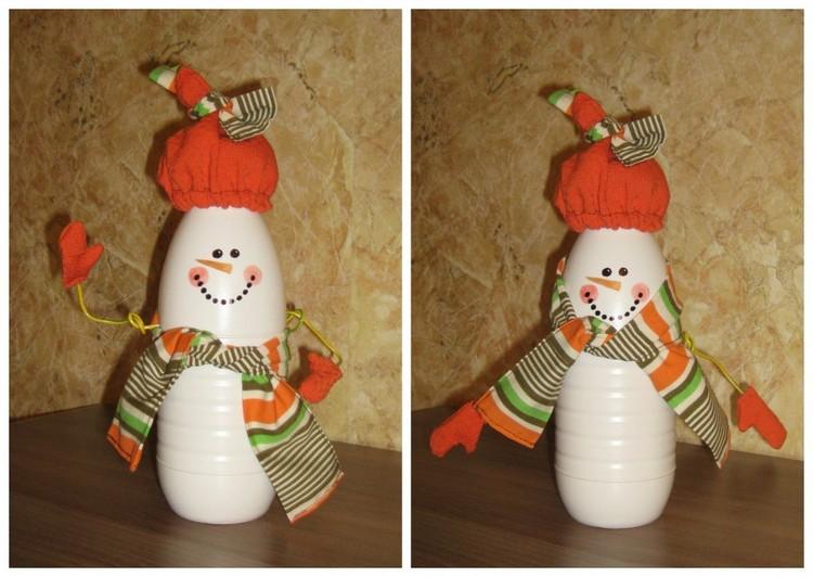 Снеговик из пластиковой бутылки: простая поделка для школы