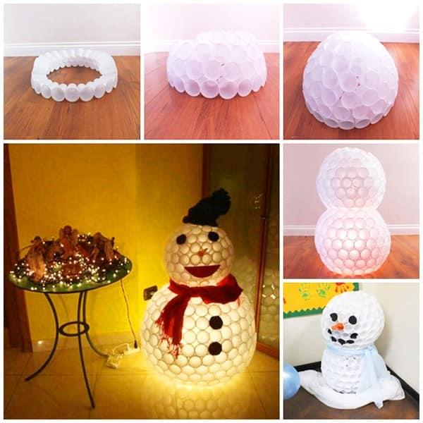 Мастер класс: снеговик из пластиковых стаканчиков