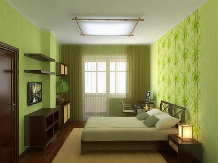 Комната с зелёными обоями