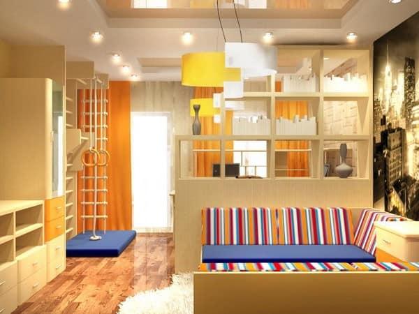Зонирование пространства детской комнаты в хрущевке