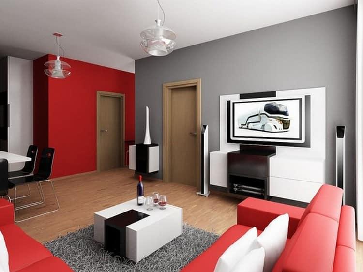 серо-красный в гостиной