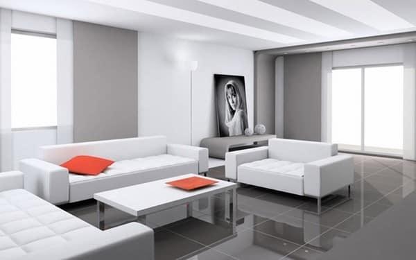 Серо-белая гостиная с парочкой ярких акцентов для оживления интерьера