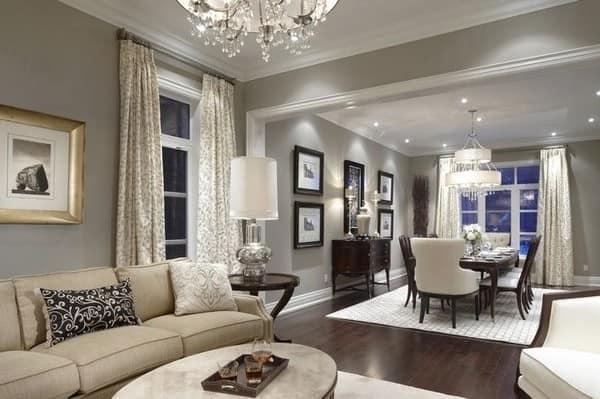 Серый цвет в дизайне современной светлой гостиной