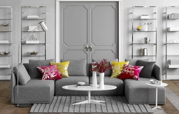Готовый комплект мебели из двух серых угловых диванчиков для гостиной
