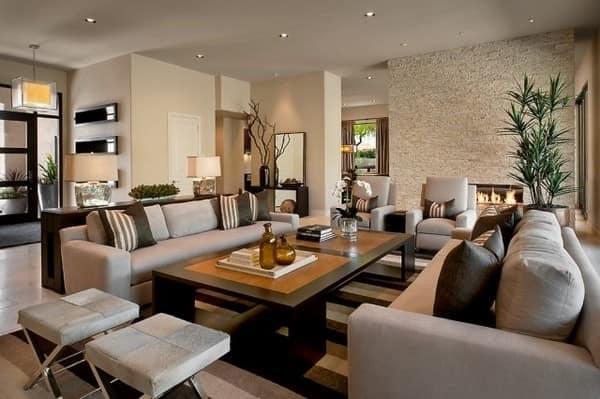 Идеи для коричневого и серого цвета в гостиной