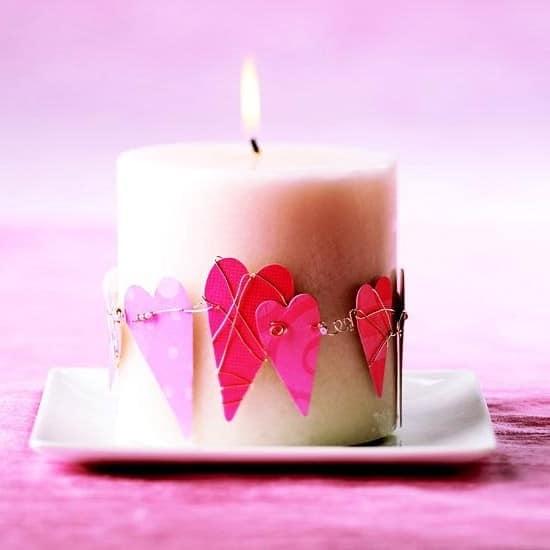 Декор свечи на день Валентина