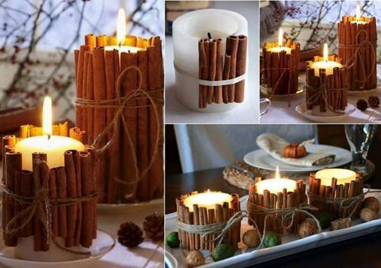 Декор свечи палочками корицы или веточками