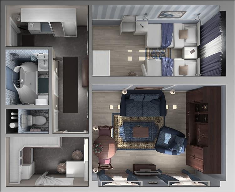 Дизайн-проект современного интерьера в двухкомнатной хрущевке