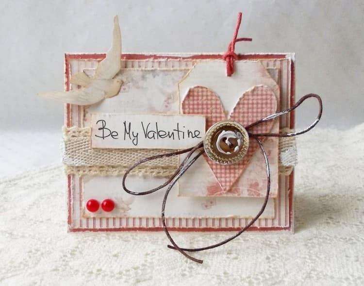 Винтажная валентинка - открытка своими руками