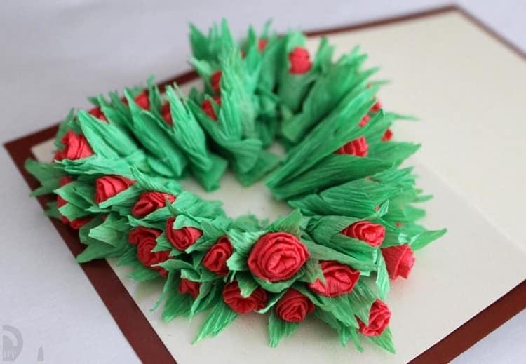 Декор открытки цветами из бумаги на 14 февраля