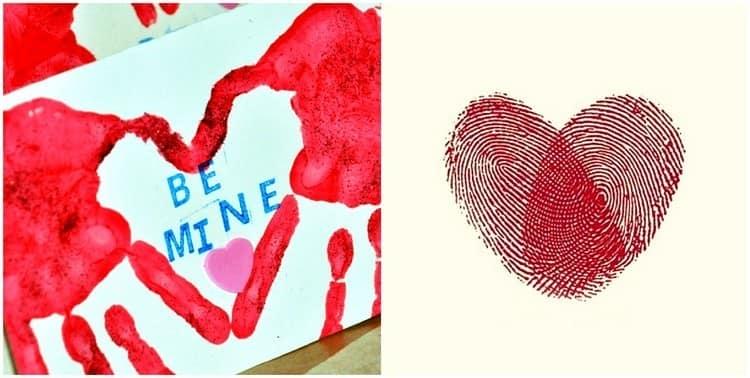 Отпечатки рук и пальцев в виде сердечка для открытки на день святого Валентина