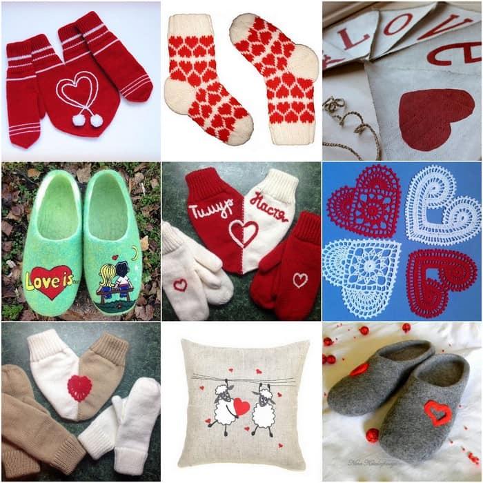 Милые тапочки, носки и варежки для 14 февраля