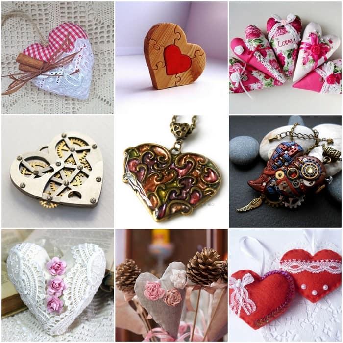 Самые разные сердечки-валентинки из подручных материалов