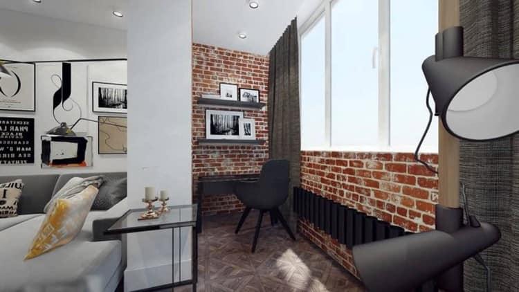 Дизайн балкона - части комнаты в стиле лофт