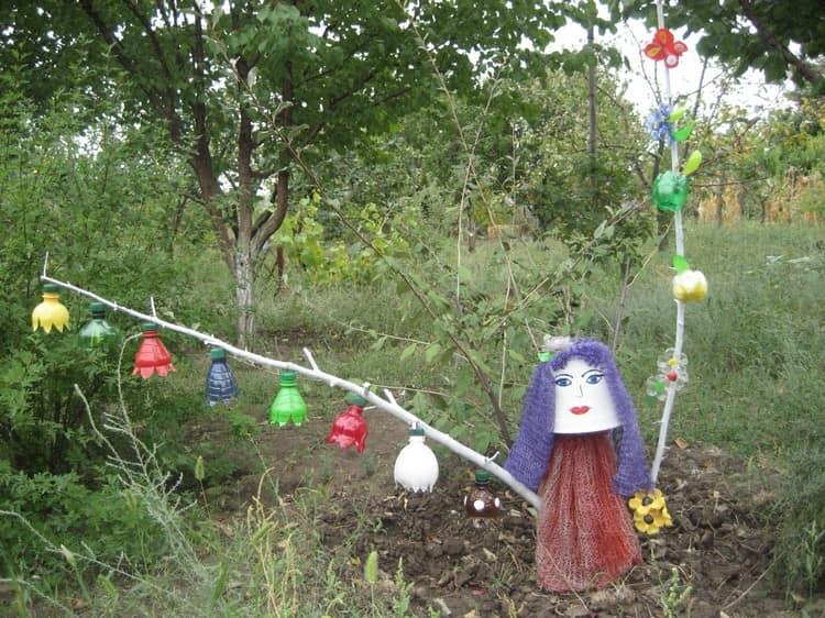Идея для просто садовой фигурки из подручных материалов