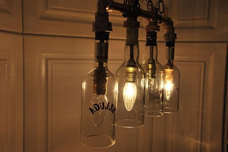 Светильник их трех бутылок в лофт-стиле своими руками