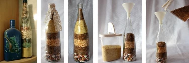 Бутылки с крупами для декора дома