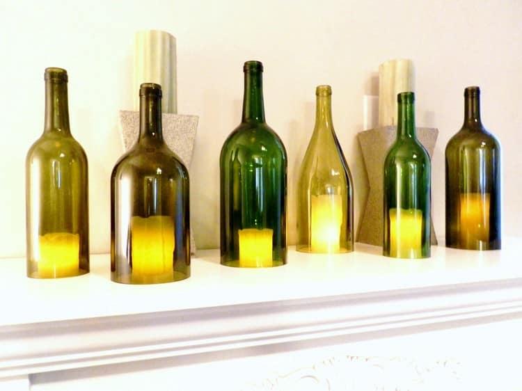 Простая идея для подсвечников из стеклянных бутылок