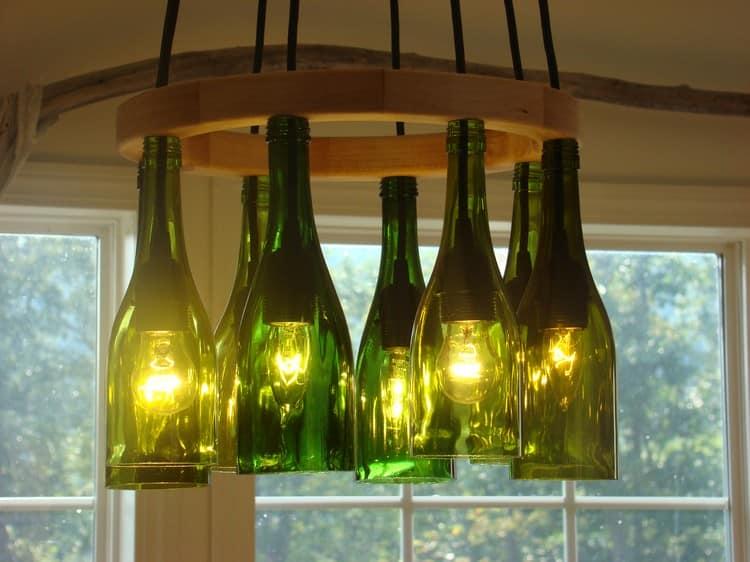 Круглый светильник из винных бутылок своими руками