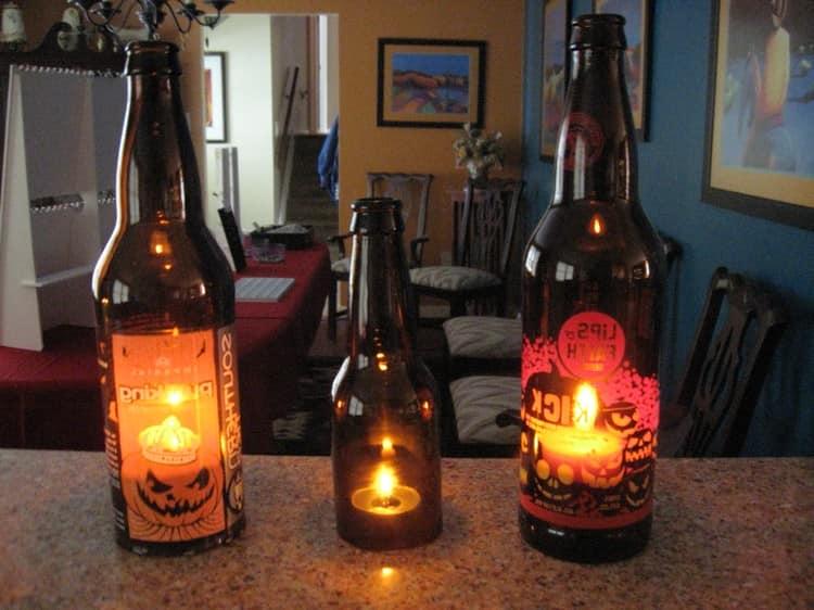 Подсвечники на Хэллоуин из бутылок