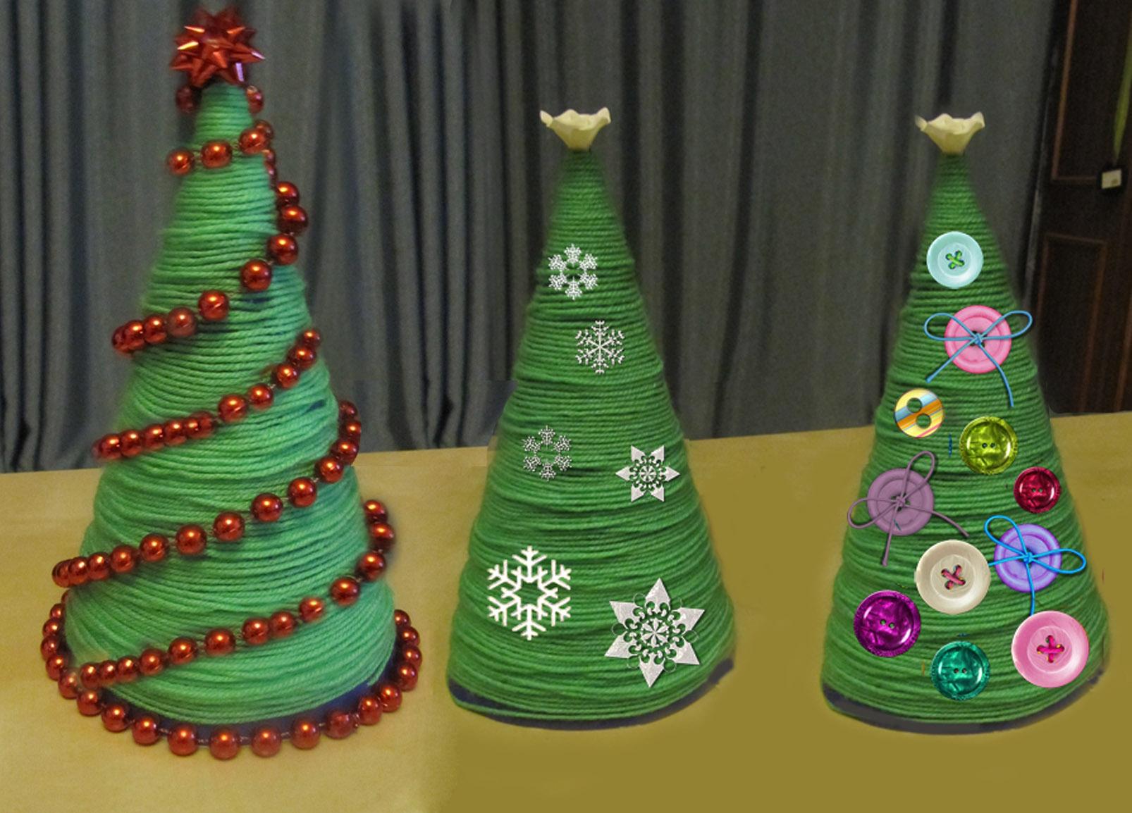 новогодние елки из ниток