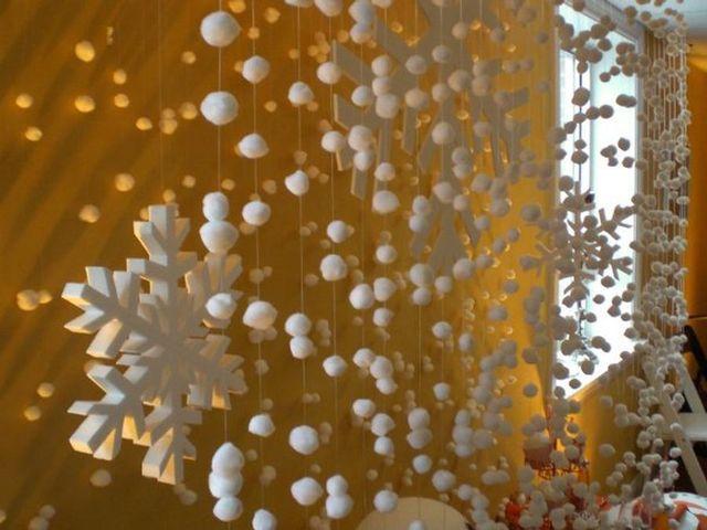 новогодняя гирлянда из ваты