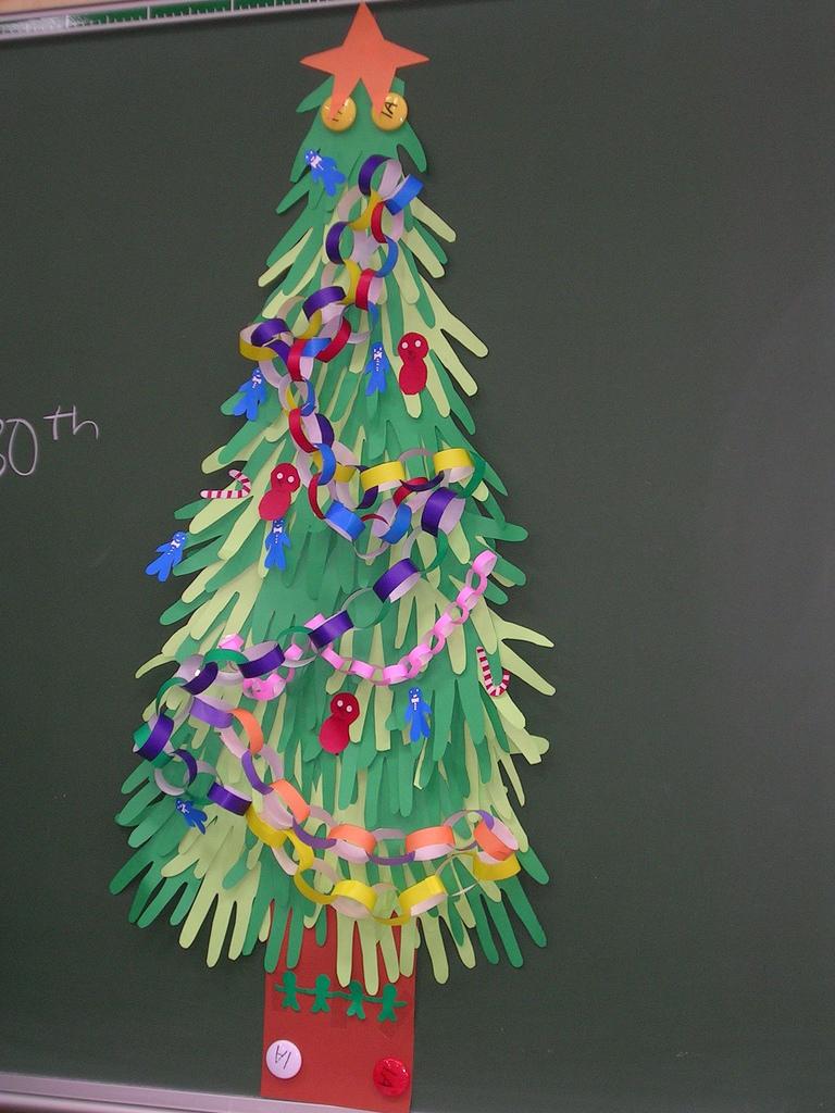 новогодняя елка из цветной бумаги своими руками