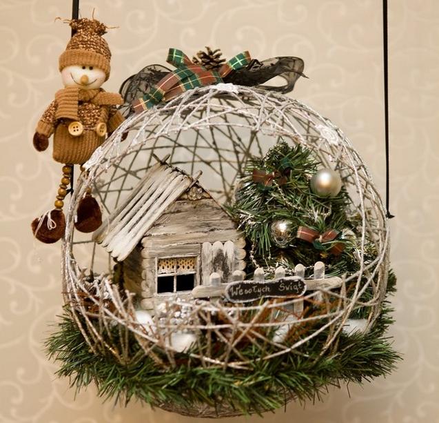 новогодняя композиция домик в шарике