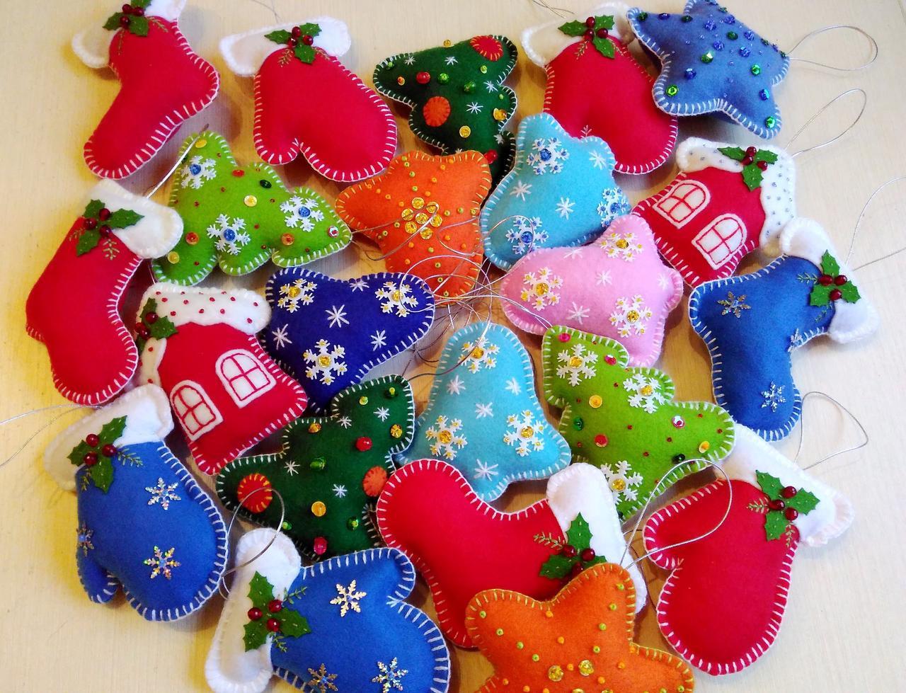 объемные новогодние игрушки из фетра