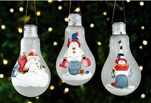 снеговики на лампочках