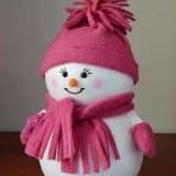 Розовый снеговик из флиса