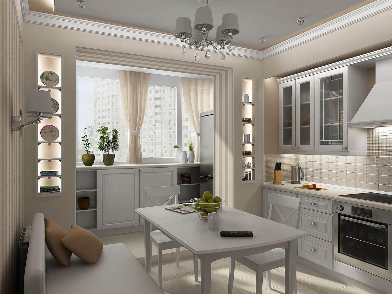 объединить балкон с кухней