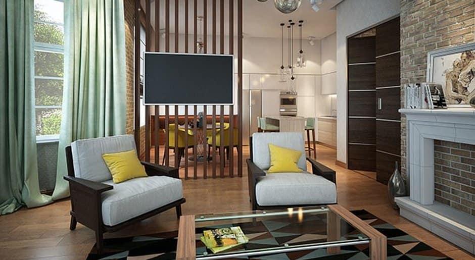 Зонирование комнаты деревянными балками