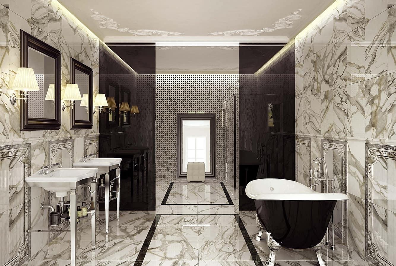 Мрамор в интерьере ванной