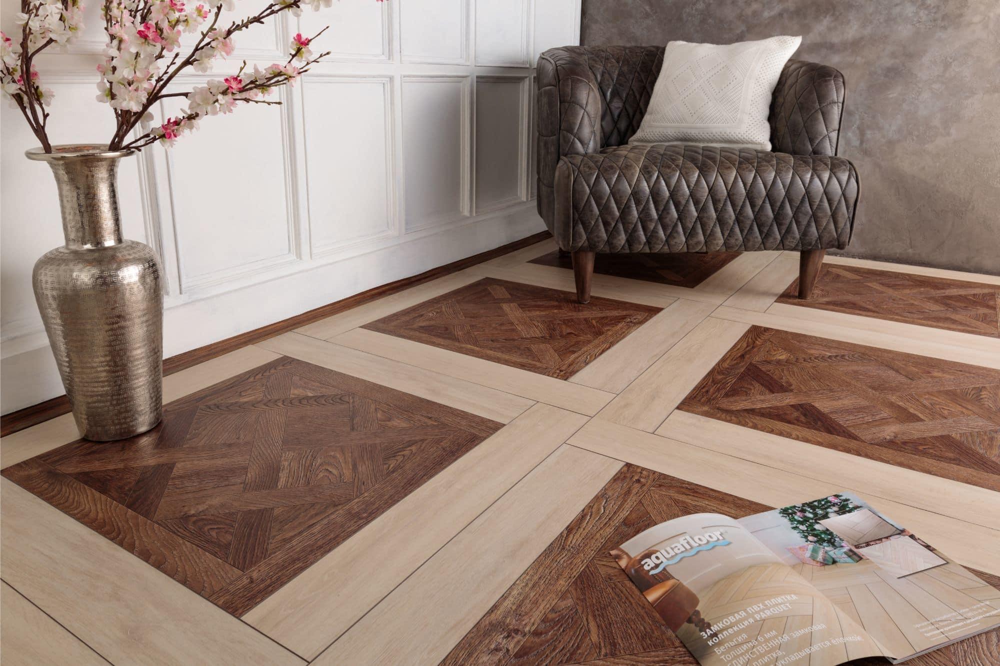 «Деревянная» напольная плитка для гостиной