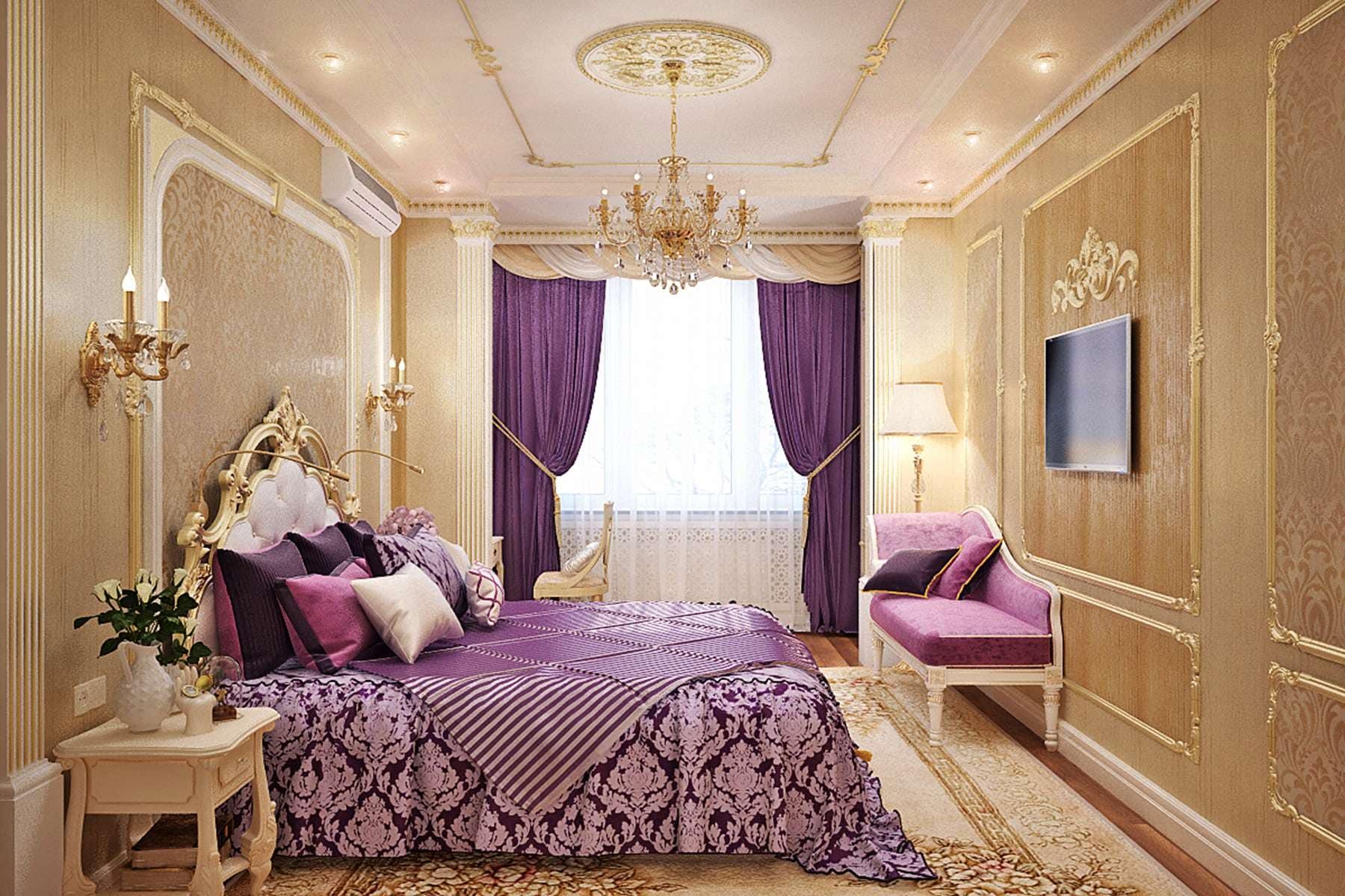 Спальня с золотыми обоями