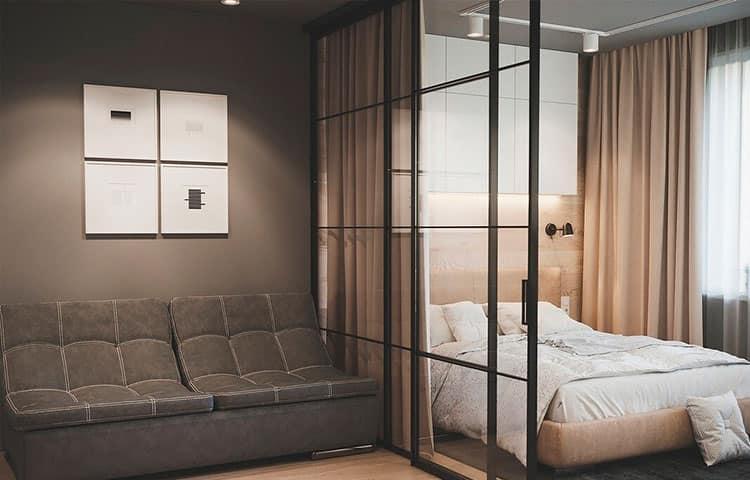 Зонирование комнаты стеклянной перегородкой