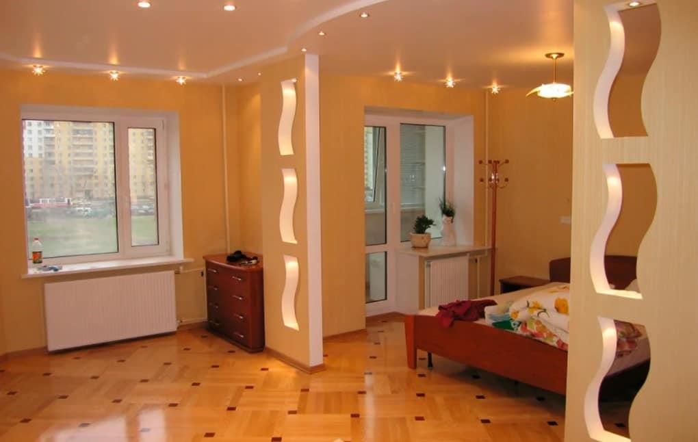 Зонирование комнаты перегородкой из гипсокартона