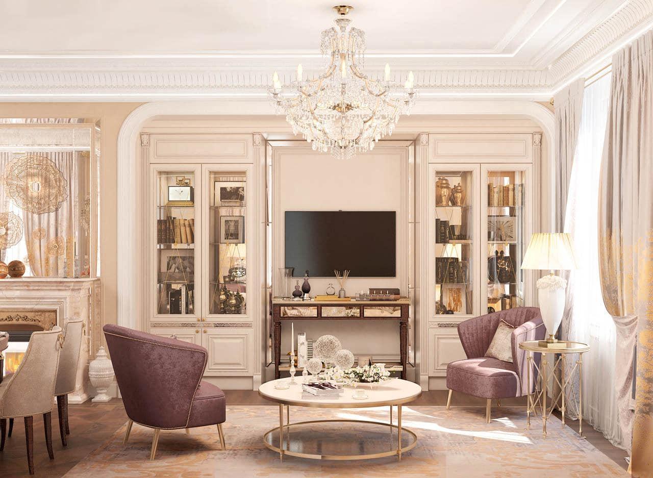 Гостиная в классическом стиле интерьера