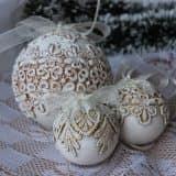 Красивые кружевные шары на елку