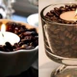 оформление свечей кофейными зернами